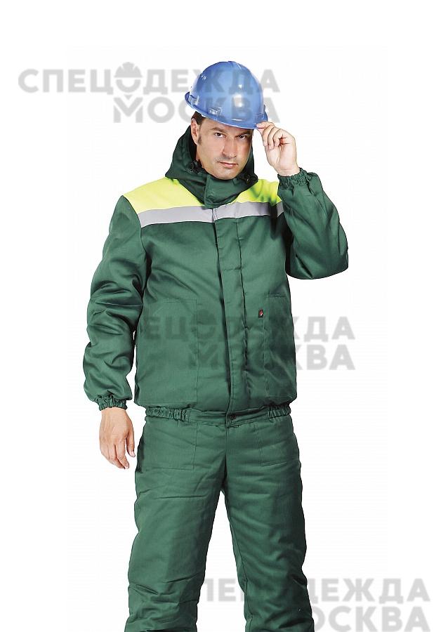 Куртка зимняя Эксперт-ЛЮКС укороченная, зеленый/лимонный